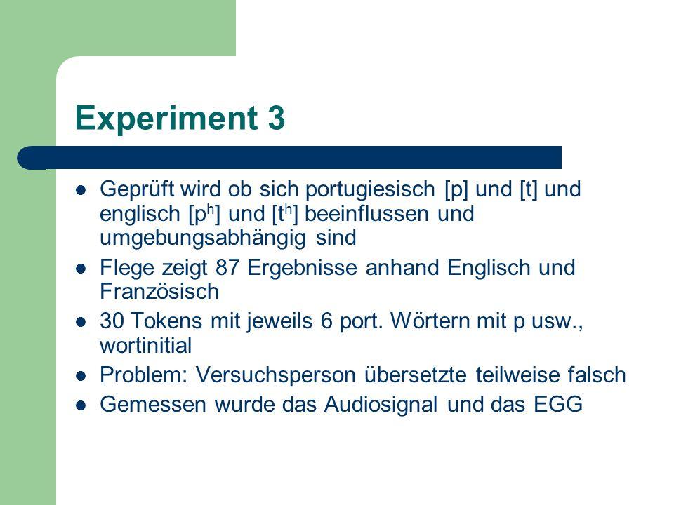 Experiment 3Geprüft wird ob sich portugiesisch [p] und [t] und englisch [ph] und [th] beeinflussen und umgebungsabhängig sind.